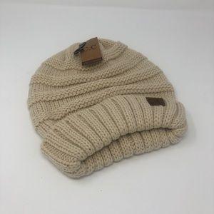 Oatmeal Chunky Knit Beanie Hat